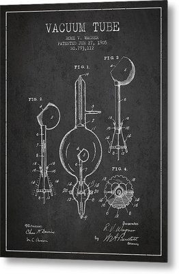 Vacuum Tube Patent From 1905 - Charcoal Metal Print