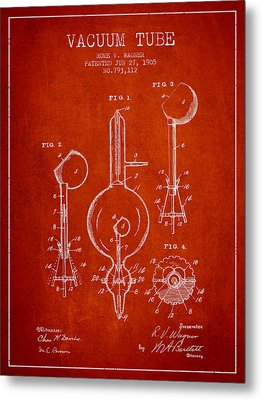 Vacuum Tube Patent From 1905 - Red Metal Print