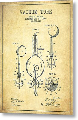 Vacuum Tube Patent From 1905 - Vintage Metal Print