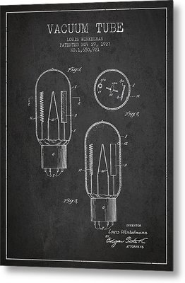 Vacuum Tube Patent From 1927 - Charcoal Metal Print by Aged Pixel