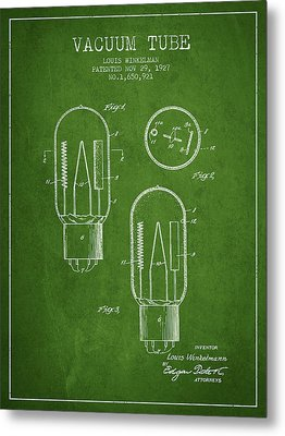 Vacuum Tube Patent From 1927 - Green Metal Print