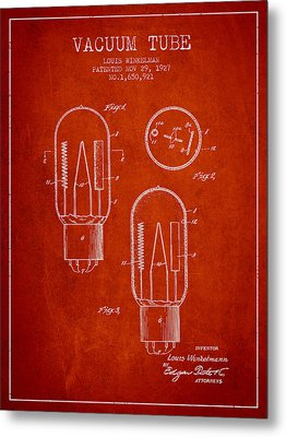 Vacuum Tube Patent From 1927 - Red Metal Print