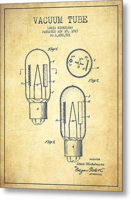 Vacuum Tube Patent From 1927 - Vintage Metal Print by Aged Pixel