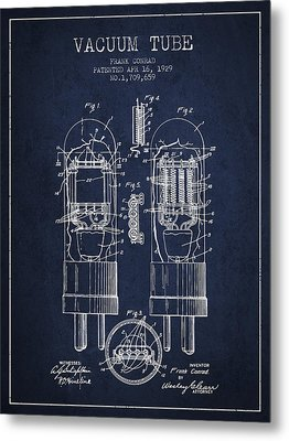 Vacuum Tube Patent From 1929 - Navy Blue Metal Print