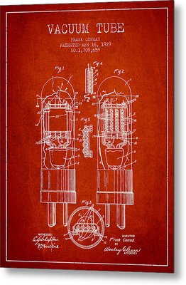 Vacuum Tube Patent From 1929 - Red Metal Print