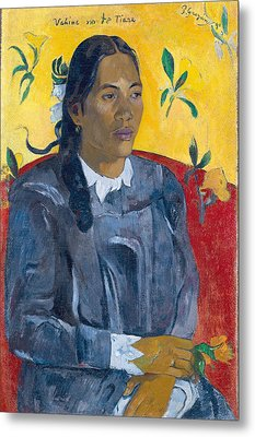 Vahine No Te Tiare Woman With A Flower, 1891 Oil On Canvas Metal Print by Paul Gauguin