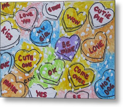 Valentine Candy Hearts Metal Print by Kathy Marrs Chandler