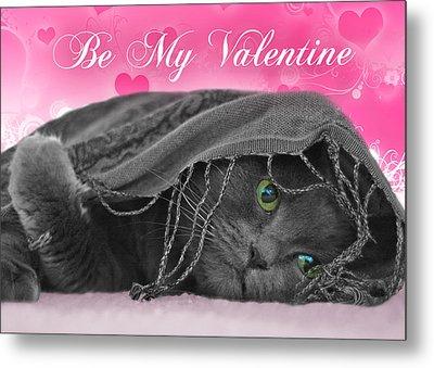 Valentine Cat Metal Print by Joann Vitali