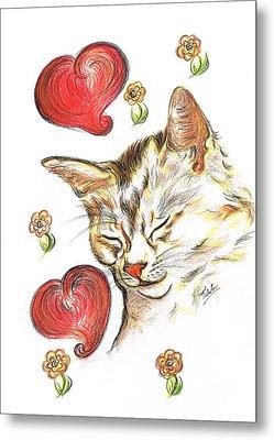 Valentine Cat Metal Print