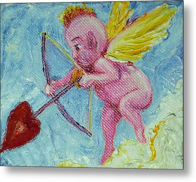 Valentine's Day Cupid And Heart Arrow Metal Print