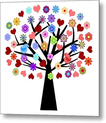 Valentines Day Tree With Love Birds Hearts Flowers Metal Print
