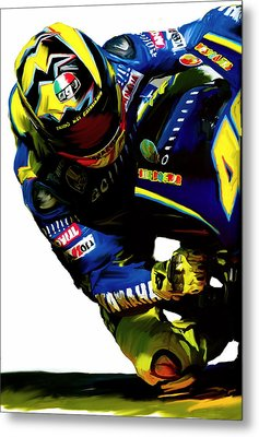 Valentino Rossi  Corner Speed IIi Metal Print by Iconic Images Art Gallery David Pucciarelli