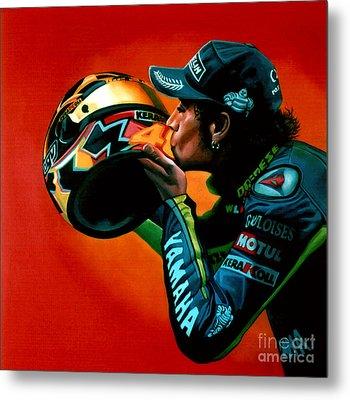 Valentino Rossi Portrait Metal Print by Paul Meijering