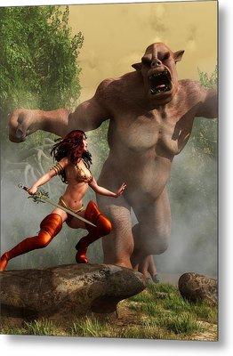 Metal Print featuring the digital art Valkyrie Versus Ogre by Kaylee Mason