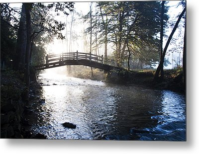 Valley Creek Bow Bridge At Valley Forge Metal Print by Bill Cannon