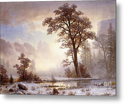 Valley Of The Yosemite Snow Fall Metal Print