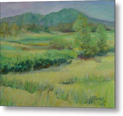 Valley Ranch Rural Western Landscape Painting Oregon Art  Metal Print