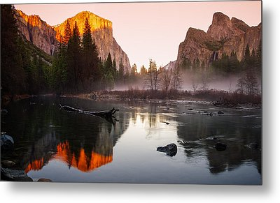 Valley View Winter Sunset Yosemite National Park Metal Print