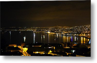 Valparaiso Harbor At Night Metal Print by Kurt Van Wagner