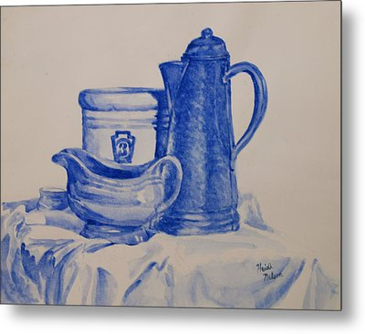 Value Study In Blue Metal Print by Heidi E  Nelson