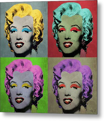 Vampire Marilyn Set Of 4 Metal Print by Filippo B