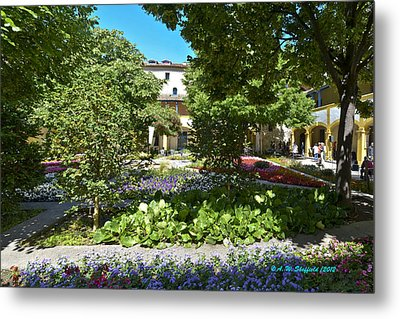 Metal Print featuring the photograph Van Gogh - Courtyard In Arles by Allen Sheffield