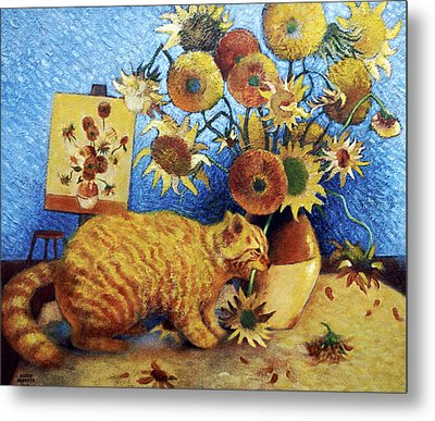 Van Gogh's Bad Cat Metal Print