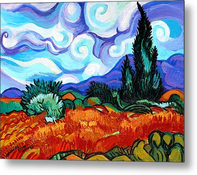 Van Goghs Wheat Field With Cypress Metal Print by Genevieve Esson