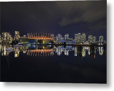 Vancouver Bc Canada City Skyline By False Creek At Night Metal Print by David Gn