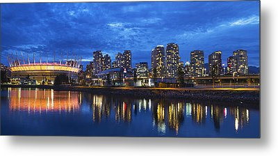 Vancouver Bc City Skyline With Bc Place At Blue Hour Metal Print by David Gn