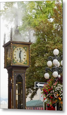 Metal Print featuring the photograph Vancouver Bc Historic Gastown Steam Clock by JPLDesigns