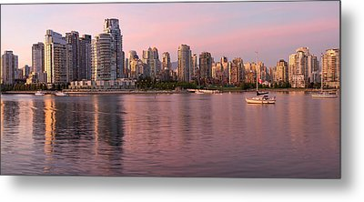 Metal Print featuring the photograph Vancouver Bc Skyline Along False Creek At Dusk by JPLDesigns