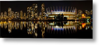 Metal Print featuring the photograph Vancouver Bc Skyline Along False Creek At Night by JPLDesigns