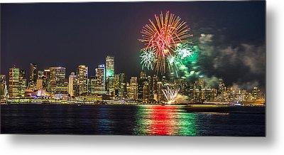 Vancouver Fireworks Panorama Metal Print