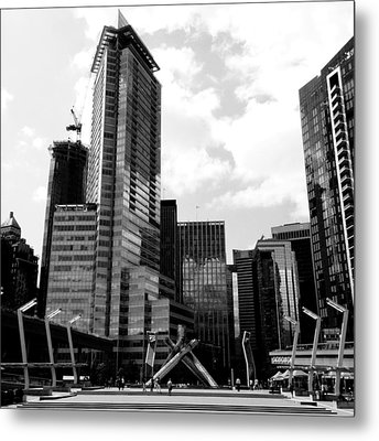 Vancouver Olympic Cauldron- Black And White Photography Metal Print by Linda Woods