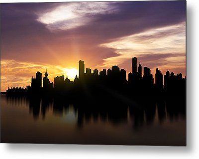 Vancouver Sunset Skyline  Metal Print by Aged Pixel