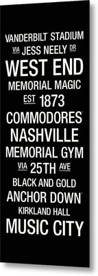 Vanderbilt College Town Wall Art Metal Print