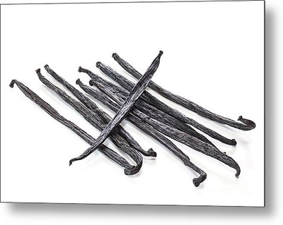 Vanilla Beans On White Background Metal Print by Colin and Linda McKie