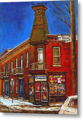 Vanishing Montreal Landmark Depanneur Ste. Emilie And Bourget Montreal Painting By Carole Spandau  Metal Print by Carole Spandau