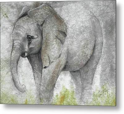 Vanishing Thunder Series-baby Elephant I Metal Print by Suzanne Schaefer