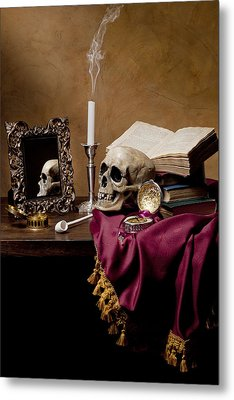 Metal Print featuring the photograph Vanitas - Skull-mirror-books And Candlestick by Levin Rodriguez