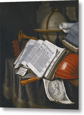 Vanitas Still Life With An Upturned Lute Metal Print by Celestial Images