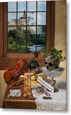 Vanitas With Music Instruments And Window Metal Print by Levin Rodriguez