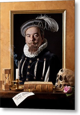 Vanitas With Painting-skull-hourglass Metal Print