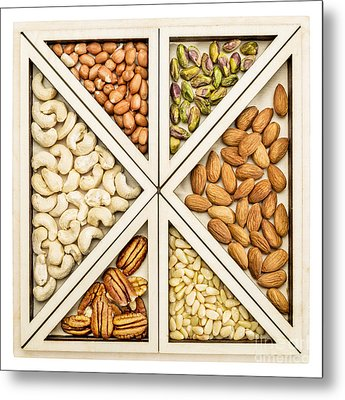 Variety Of Nuts Abstract Metal Print by Marek Uliasz