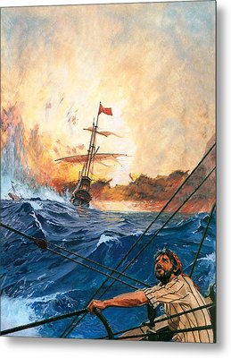 Vasco Da Gama's Ships Rounding The Cape Metal Print by English School