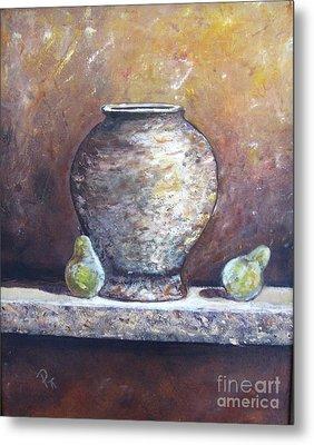 Vase And Pears Metal Print by Pat Craft