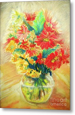 Metal Print featuring the painting Vase by Jasna Dragun