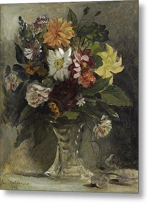 Vase Of Flowers, 1833 Metal Print by Ferdinand Victor Eugene Delacroix
