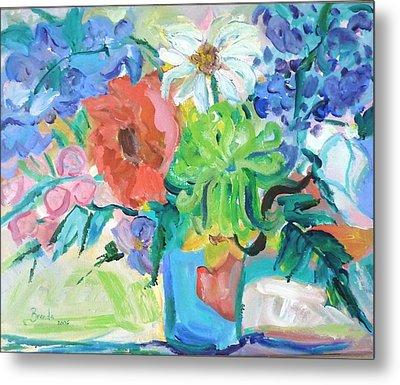 Vase Of Flowers Metal Print by Brenda Ruark